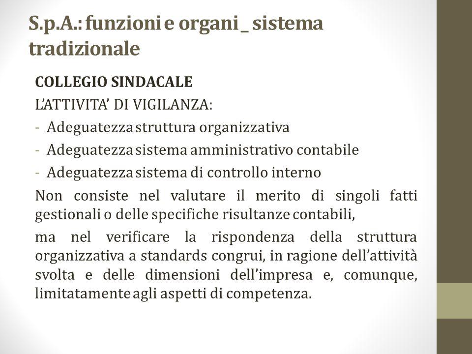 S.p.A.: funzioni e organi _ sistema tradizionale COLLEGIO SINDACALE L'ATTIVITA' DI VIGILANZA: -Adeguatezza struttura organizzativa -Adeguatezza sistem