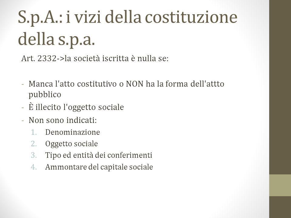 S.p.A.: i vizi della costituzione della s.p.a. Art. 2332->la società iscritta è nulla se: -Manca l'atto costitutivo o NON ha la forma dell'attto pubbl