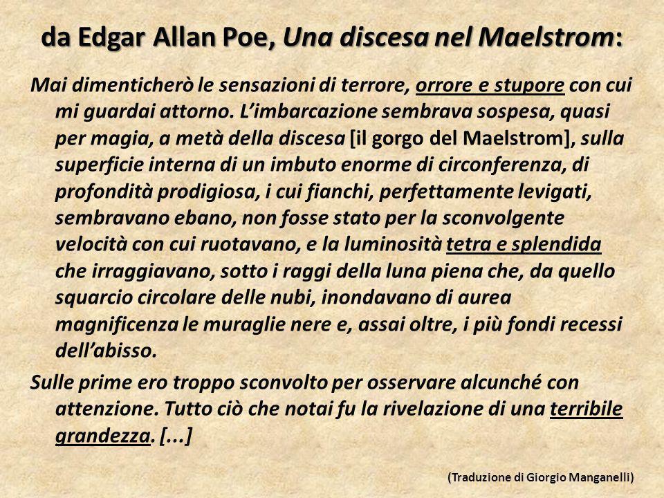 da Edgar Allan Poe, Una discesa nel Maelstrom: Mai dimenticherò le sensazioni di terrore, orrore e stupore con cui mi guardai attorno.