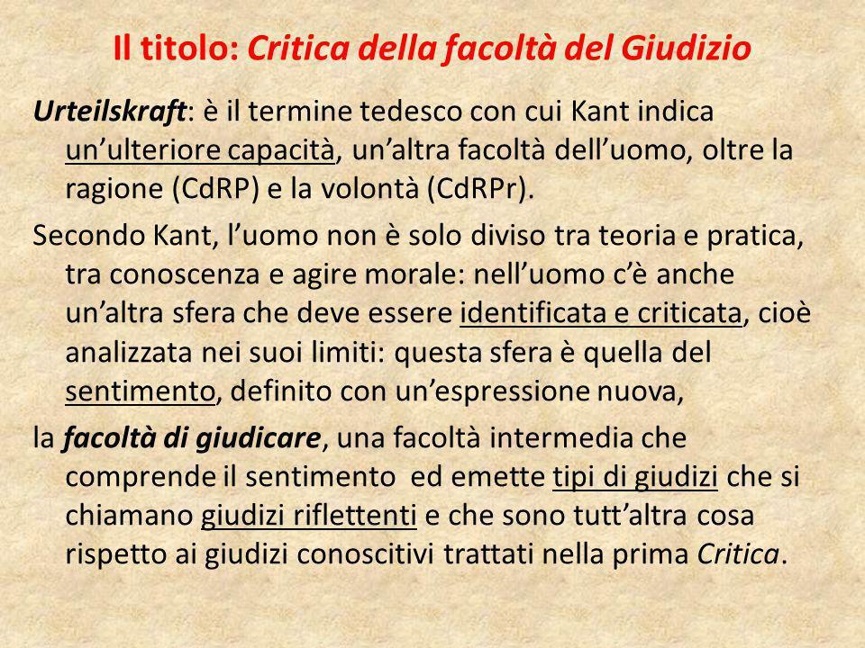 Il titolo: Critica della facoltà del Giudizio Urteilskraft: è il termine tedesco con cui Kant indica un'ulteriore capacità, un'altra facoltà dell'uomo, oltre la ragione (CdRP) e la volontà (CdRPr).
