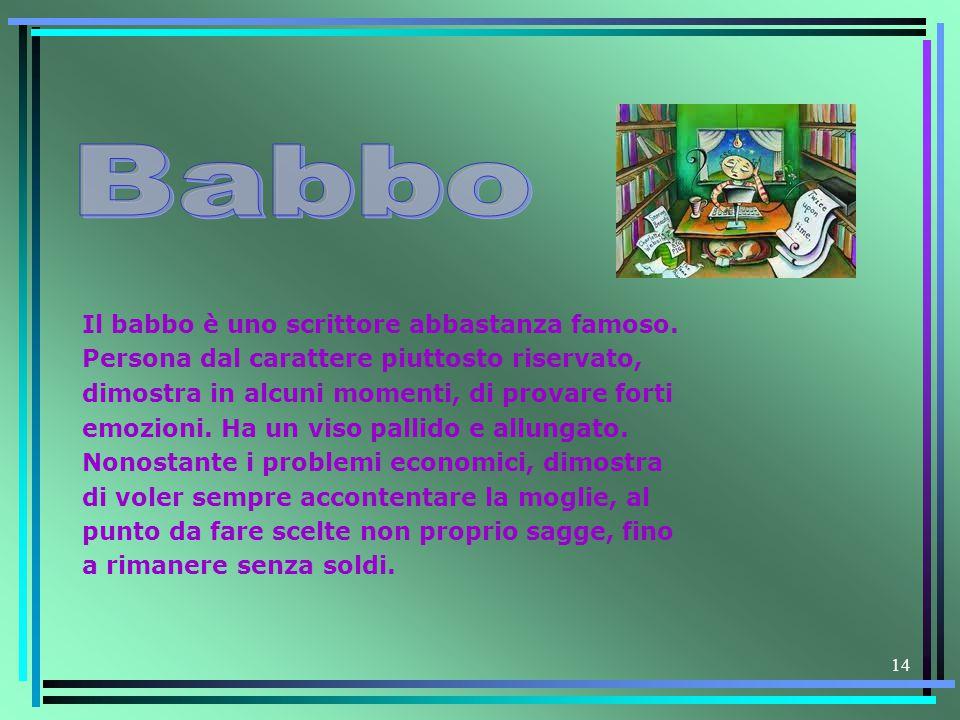 14 Il babbo è uno scrittore abbastanza famoso. Persona dal carattere piuttosto riservato, dimostra in alcuni momenti, di provare forti emozioni. Ha un