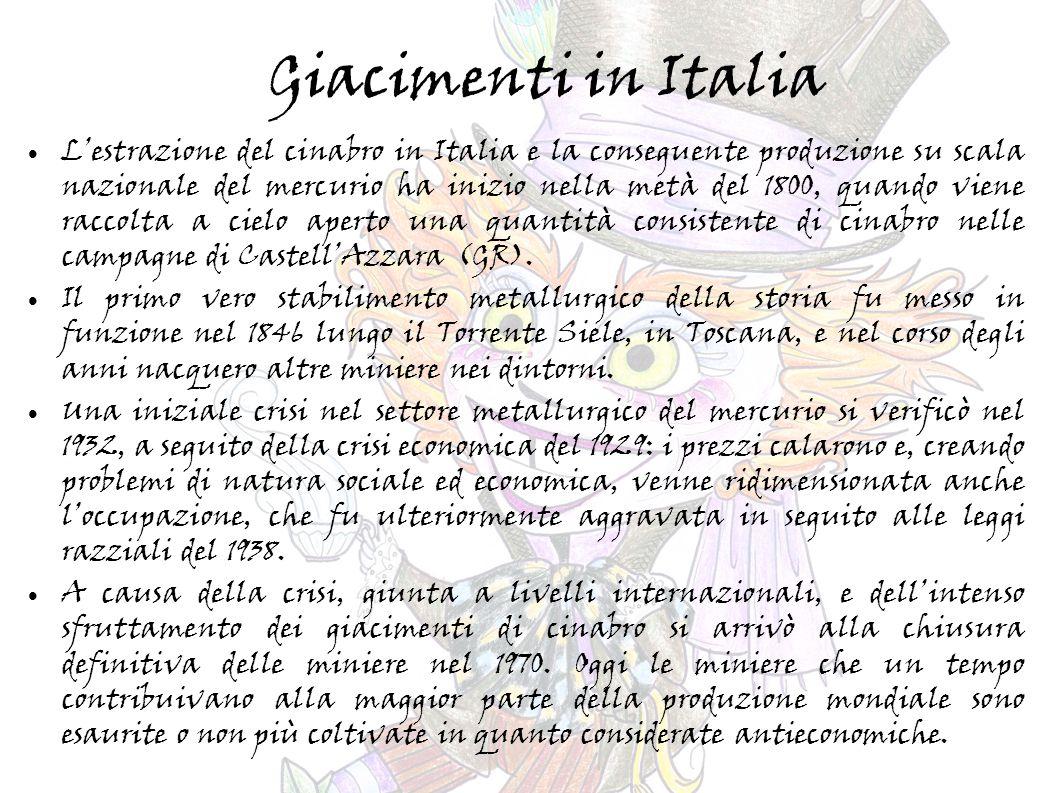 Giacimenti in Italia L'estrazione del cinabro in Italia e la conseguente produzione su scala nazionale del mercurio ha inizio nella metà del 1800, quando viene raccolta a cielo aperto una quantità consistente di cinabro nelle campagne di Castell'Azzara (GR).
