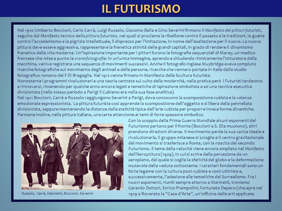IL FUTURISMO Nel 1910 Umberto Boccioni, Carlo Carrà, Luigi Russolo, Giacomo Balla e Gino Severini firmano il Manifesto dei pittori futuristi, seguito
