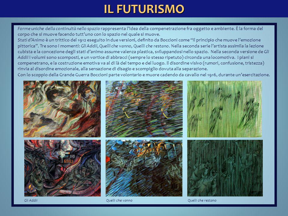 IL FUTURISMO Gli AddiiQuelli che vannoQuelli che restano Forme uniche della continuità nello spazio rappresenta l'idea della compenetrazione fra ogget
