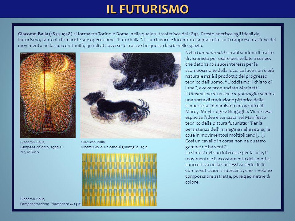 IL FUTURISMO Giacomo Balla, Compenetrazione iridescente 4, 1912 Giacomo Balla (1874-1958) si forma fra Torino e Roma, nella quale si trasferisce dal 1