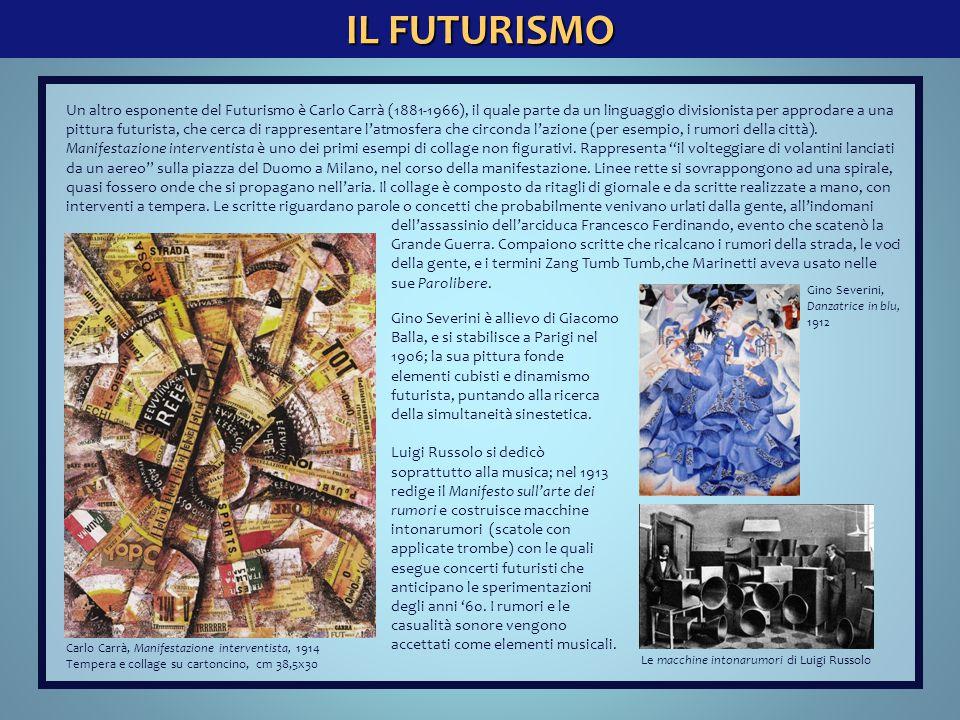 IL FUTURISMO Un altro esponente del Futurismo è Carlo Carrà (1881-1966), il quale parte da un linguaggio divisionista per approdare a una pittura futu
