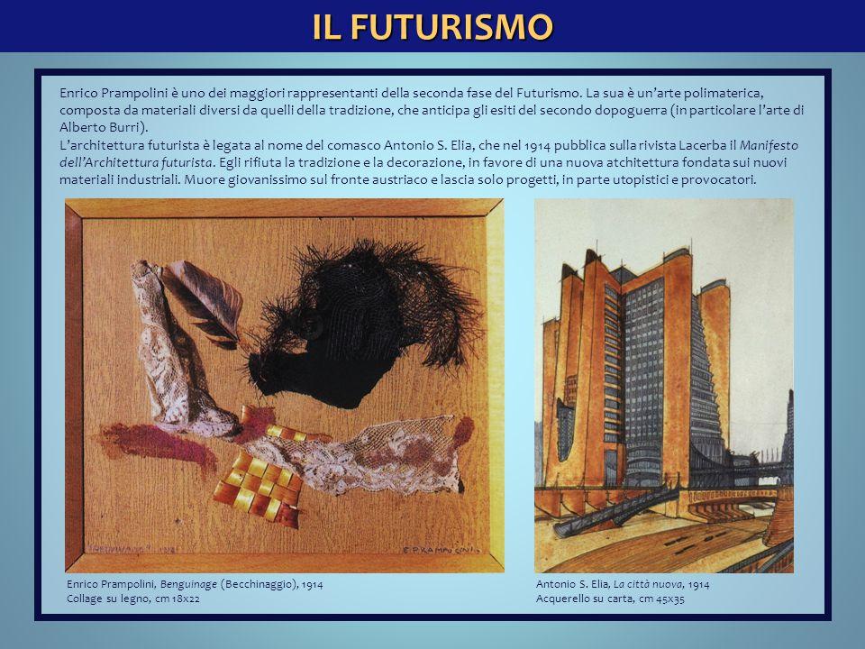 IL FUTURISMO Enrico Prampolini, Benguinage (Becchinaggio), 1914 Collage su legno, cm 18x22 Antonio S. Elia, La città nuova, 1914 Acquerello su carta,