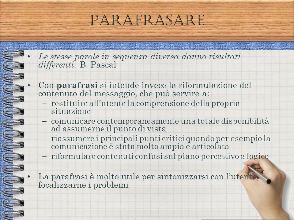 Parafrasare Le stesse parole in sequenza diversa danno risultati differenti. B. Pascal Con parafrasi si intende invece la riformulazione del contenuto
