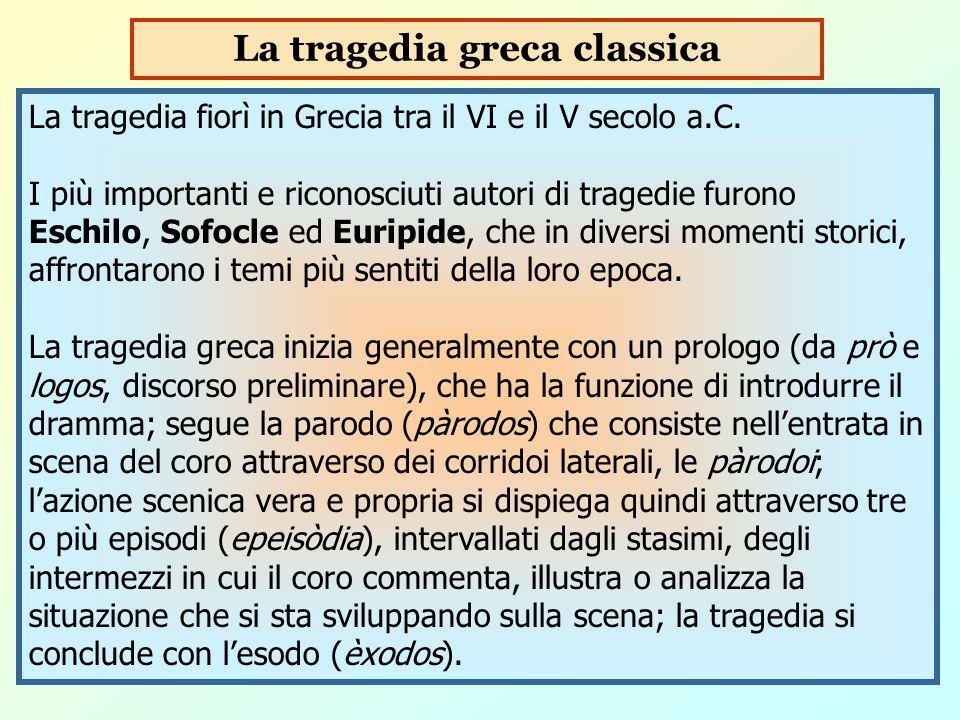 La tragedia fiorì in Grecia tra il VI e il V secolo a.C. I più importanti e riconosciuti autori di tragedie furono Eschilo, Sofocle ed Euripide, che i