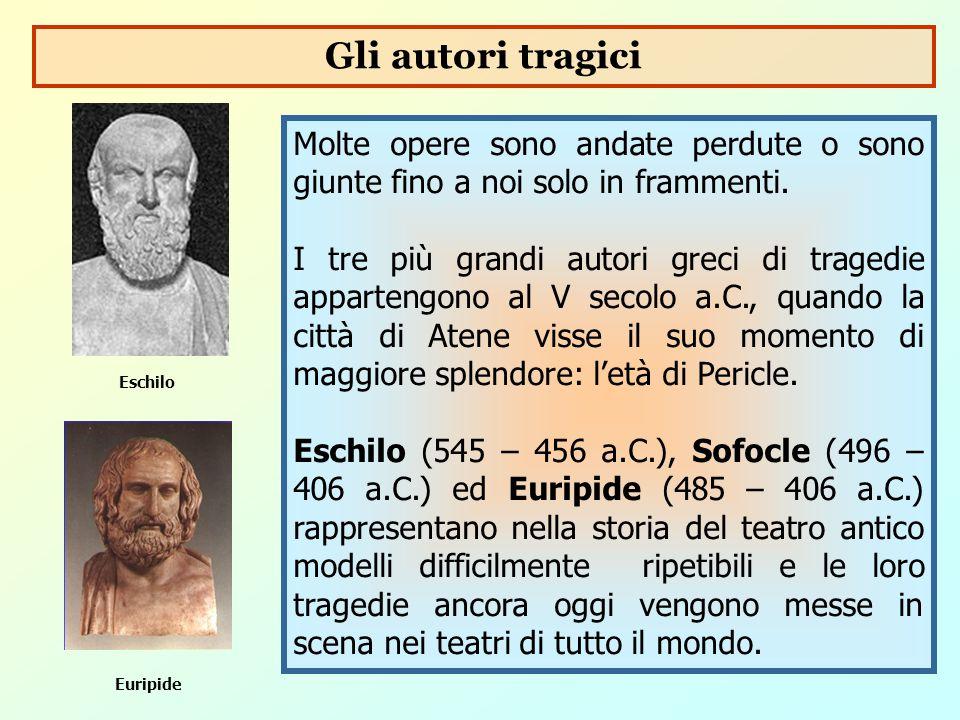 Molte opere sono andate perdute o sono giunte fino a noi solo in frammenti. I tre più grandi autori greci di tragedie appartengono al V secolo a.C., q