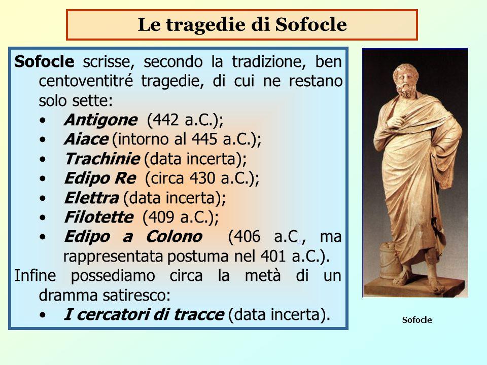 Sofocle scrisse, secondo la tradizione, ben centoventitré tragedie, di cui ne restano solo sette: Antigone (442 a.C.); Aiace (intorno al 445 a.C.); Tr