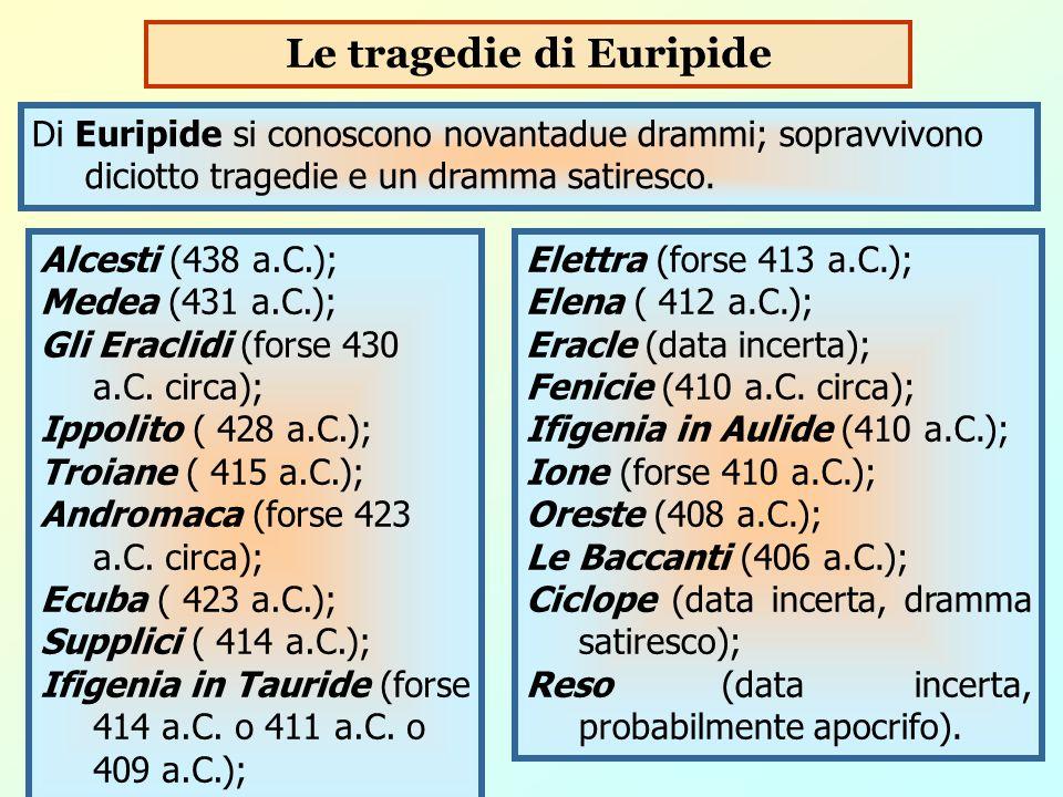 Di Euripide si conoscono novantadue drammi; sopravvivono diciotto tragedie e un dramma satiresco. Le tragedie di Euripide Alcesti (438 a.C.); Medea (4