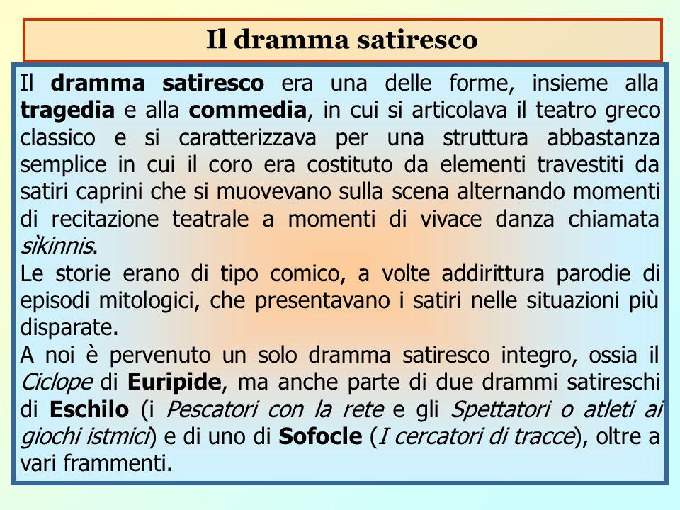 Il dramma satiresco era una delle forme, insieme alla tragedia e alla commedia, in cui si articolava il teatro greco classico e si caratterizzava per