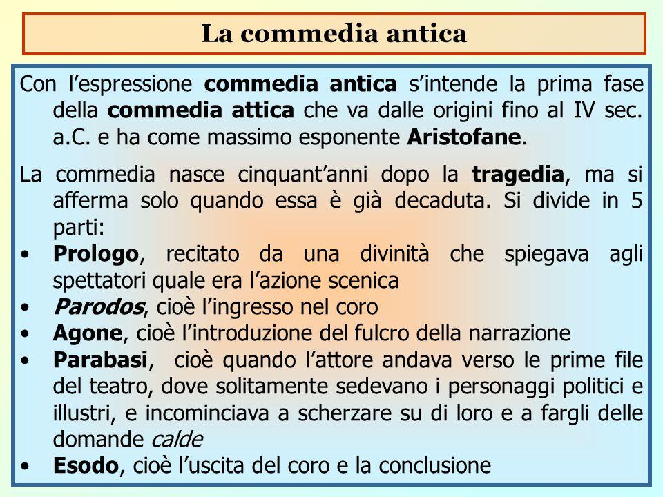 Con l'espressione commedia antica s'intende la prima fase della commedia attica che va dalle origini fino al IV sec. a.C. e ha come massimo esponente