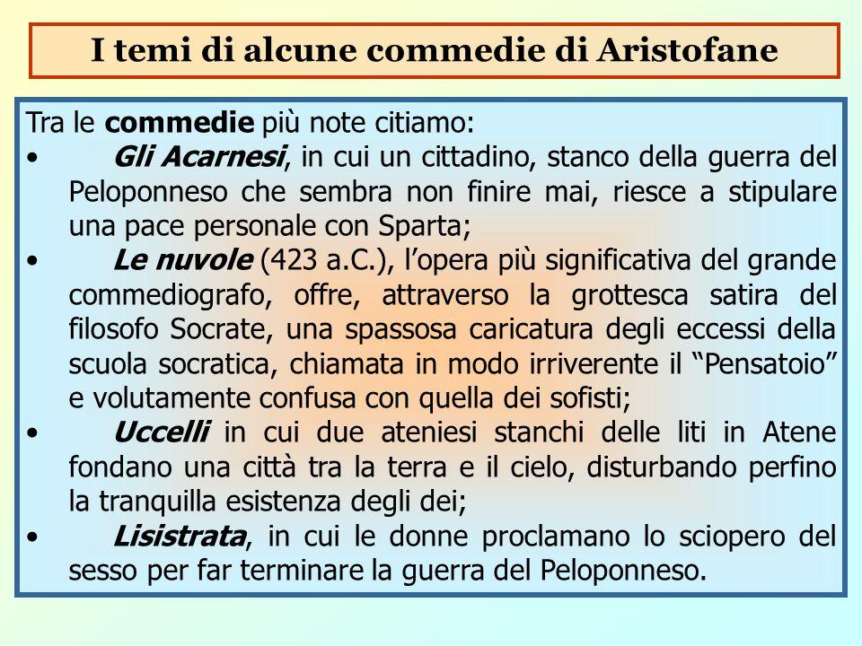 Tra le commedie più note citiamo: Gli Acarnesi, in cui un cittadino, stanco della guerra del Peloponneso che sembra non finire mai, riesce a stipulare