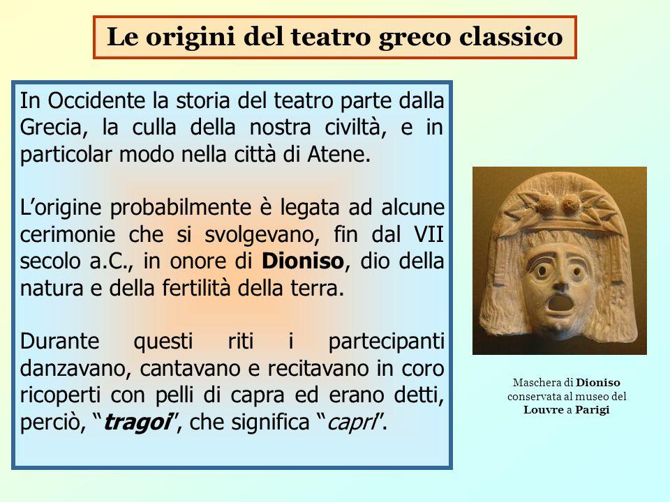 Il termine tragedia ( canto del capro ) deriva, quindi, dai canti rituali (chiamati ditirambi) che venivano intonati durante le processioni in onore del dio Dioniso.