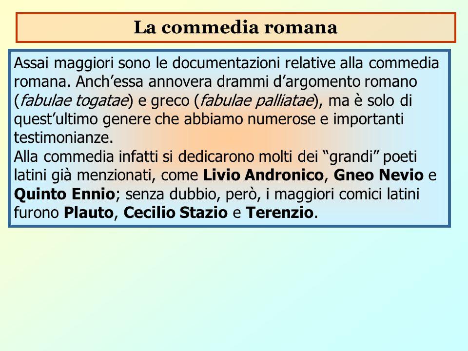 Assai maggiori sono le documentazioni relative alla commedia romana. Anch'essa annovera drammi d'argomento romano (fabulae togatae) e greco (fabulae p