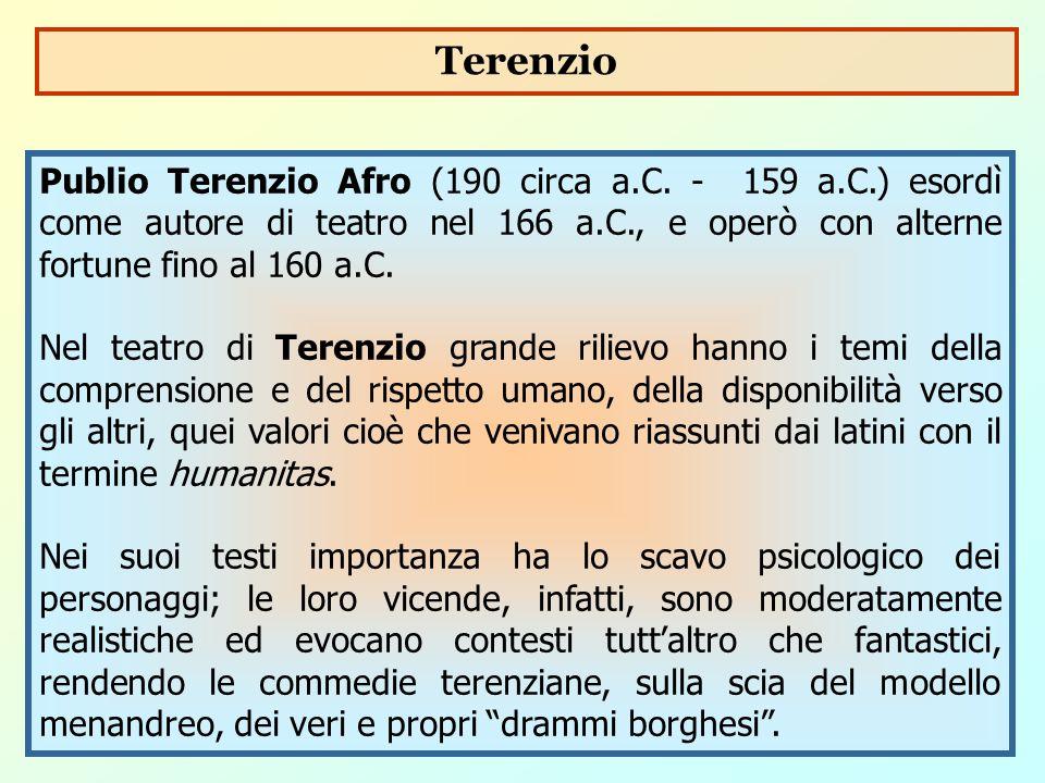 Publio Terenzio Afro (190 circa a.C. - 159 a.C.) esordì come autore di teatro nel 166 a.C., e operò con alterne fortune fino al 160 a.C. Nel teatro di