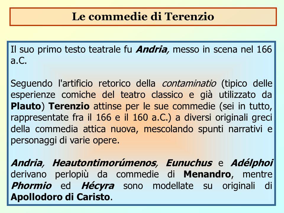Il suo primo testo teatrale fu Andria, messo in scena nel 166 a.C. Seguendo l'artificio retorico della contaminatio (tipico delle esperienze comiche d