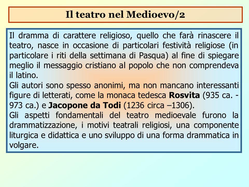 Il dramma di carattere religioso, quello che farà rinascere il teatro, nasce in occasione di particolari festività religiose (in particolare i riti de