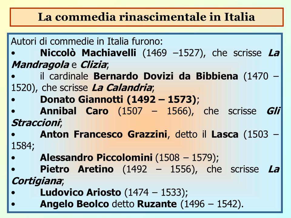 Autori di commedie in Italia furono: Niccolò Machiavelli (1469 –1527), che scrisse La Mandragola e Clizia; il cardinale Bernardo Dovizi da Bibbiena (1