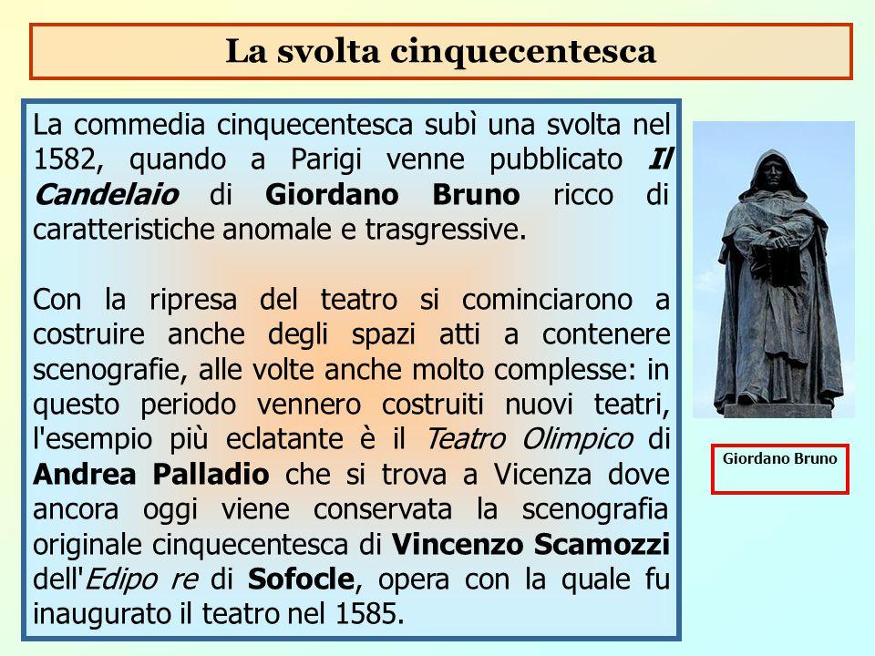 La commedia cinquecentesca subì una svolta nel 1582, quando a Parigi venne pubblicato Il Candelaio di Giordano Bruno ricco di caratteristiche anomale