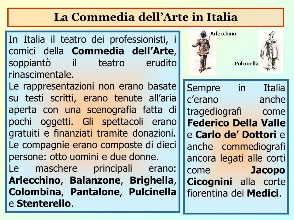 In Italia il teatro dei professionisti, i comici della Commedia dell'Arte, soppiantò il teatro erudito rinascimentale. Le rappresentazioni non erano b