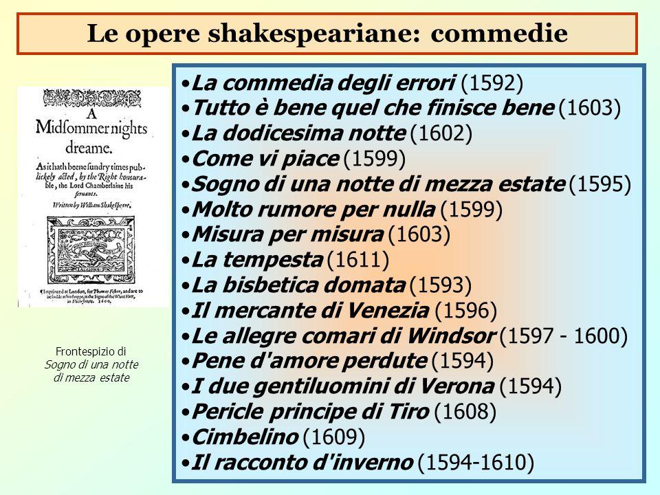 La commedia degli errori (1592) Tutto è bene quel che finisce bene (1603) La dodicesima notte (1602) Come vi piace (1599) Sogno di una notte di mezza