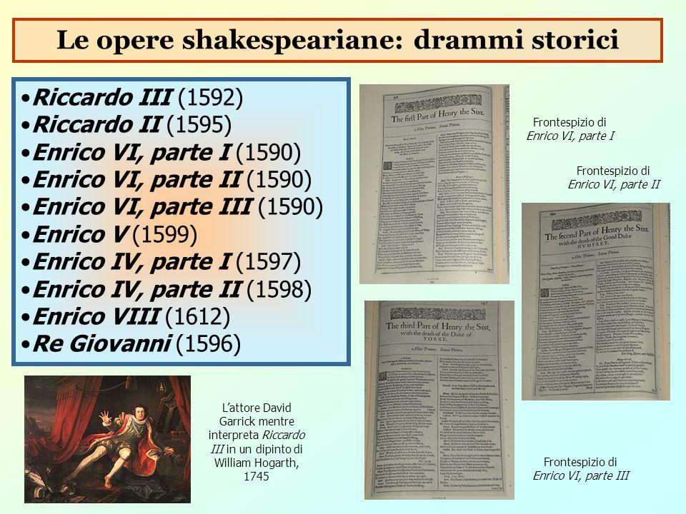 Riccardo III (1592) Riccardo II (1595) Enrico VI, parte I (1590) Enrico VI, parte II (1590) Enrico VI, parte III (1590) Enrico V (1599) Enrico IV, par