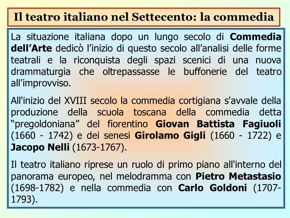 La situazione italiana dopo un lungo secolo di Commedia dell'Arte dedicò l'inizio di questo secolo all'analisi delle forme teatrali e la riconquista d