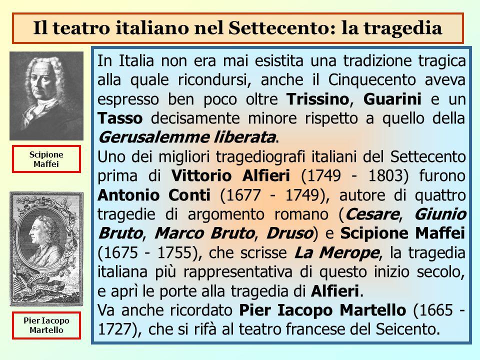 In Italia non era mai esistita una tradizione tragica alla quale ricondursi, anche il Cinquecento aveva espresso ben poco oltre Trissino, Guarini e un