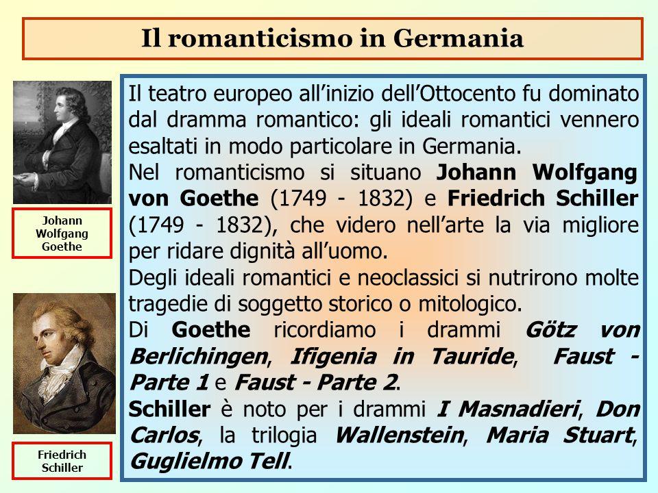 Il teatro europeo all'inizio dell'Ottocento fu dominato dal dramma romantico: gli ideali romantici vennero esaltati in modo particolare in Germania. N