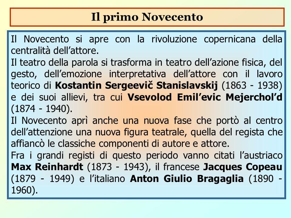 Il Novecento si apre con la rivoluzione copernicana della centralità dell'attore. Il teatro della parola si trasforma in teatro dell'azione fisica, de