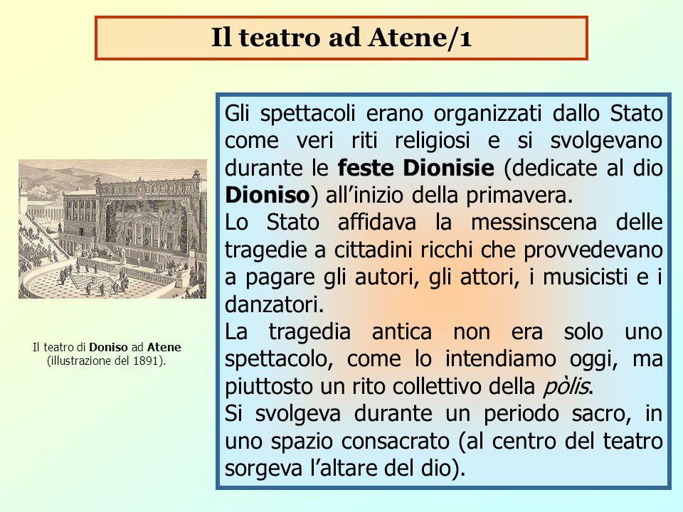 Gli spettacoli erano organizzati dallo Stato come veri riti religiosi e si svolgevano durante le feste Dionisie (dedicate al dio Dioniso) all'inizio d