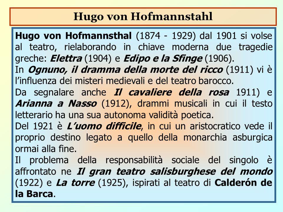 Hugo von Hofmannsthal (1874 - 1929) dal 1901 si volse al teatro, rielaborando in chiave moderna due tragedie greche: Elettra (1904) e Edipo e la Sfing
