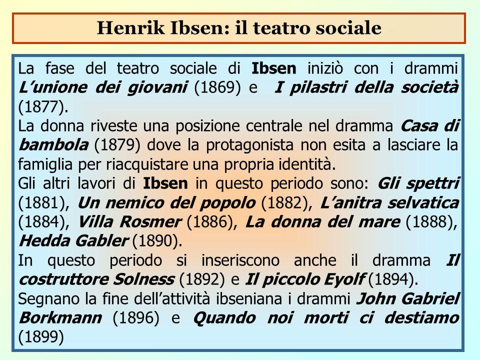 La fase del teatro sociale di Ibsen iniziò con i drammi L'unione dei giovani (1869) e I pilastri della società (1877). La donna riveste una posizione