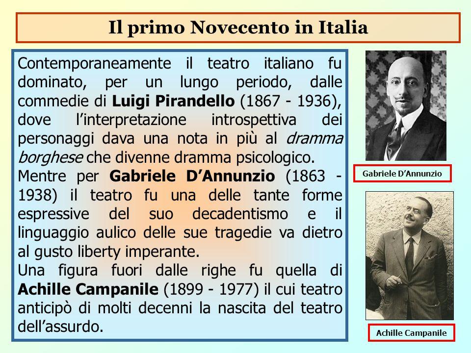 Contemporaneamente il teatro italiano fu dominato, per un lungo periodo, dalle commedie di Luigi Pirandello (1867 - 1936), dove l'interpretazione intr