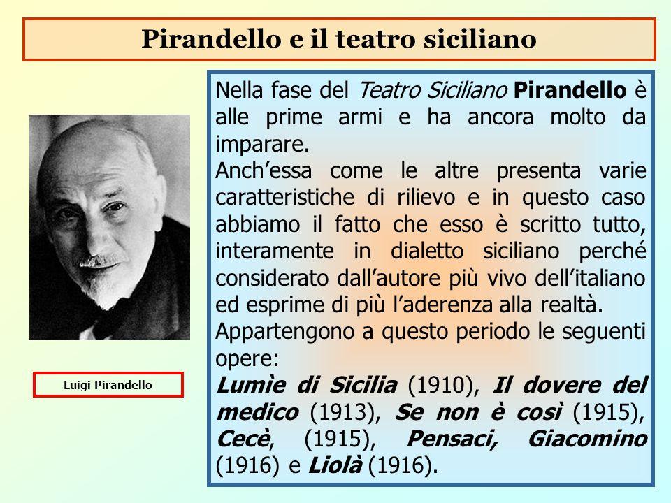 Nella fase del Teatro Siciliano Pirandello è alle prime armi e ha ancora molto da imparare. Anch'essa come le altre presenta varie caratteristiche di