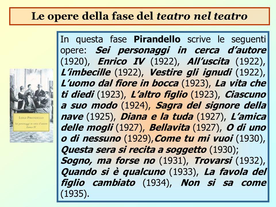 In questa fase Pirandello scrive le seguenti opere: Sei personaggi in cerca d'autore (1920), Enrico IV (1922), All'uscita (1922), L'imbecille (1922),