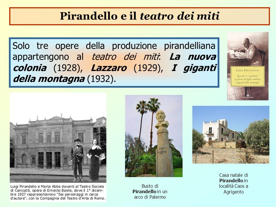 Solo tre opere della produzione pirandelliana appartengono al teatro dei miti: La nuova colonia (1928), Lazzaro (1929), I giganti della montagna (1932