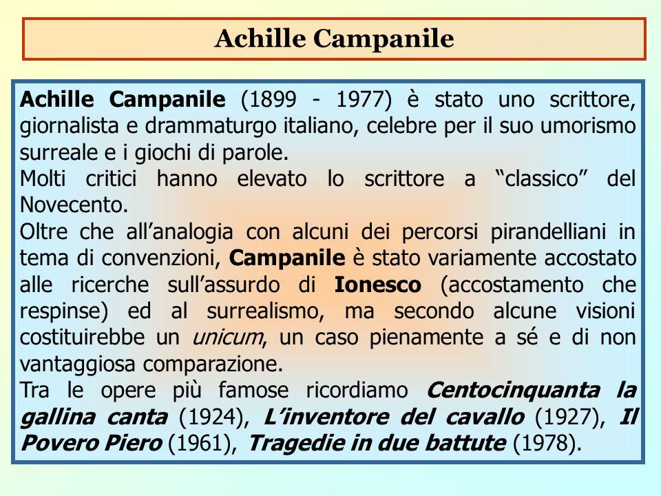 Achille Campanile (1899 - 1977) è stato uno scrittore, giornalista e drammaturgo italiano, celebre per il suo umorismo surreale e i giochi di parole.