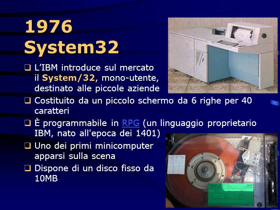 1976 – Le stampanti  L'IBM sviluppa le prime stampanti a getto d'inchiostro (ink-jet) Tale tecnologia velocizza la stampa di una grande quantità di