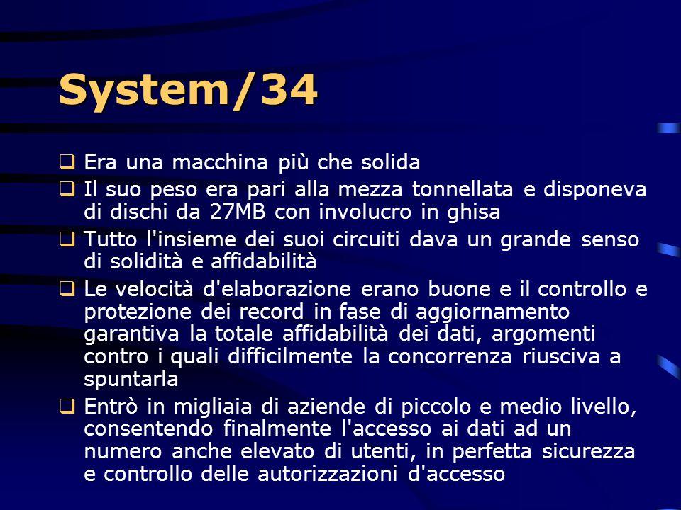 System/34  Le novità:  l'RPG II in grado di gestire formati video strutturati in modo da agevolare al massimo l'inserimento  il controllo e la visu