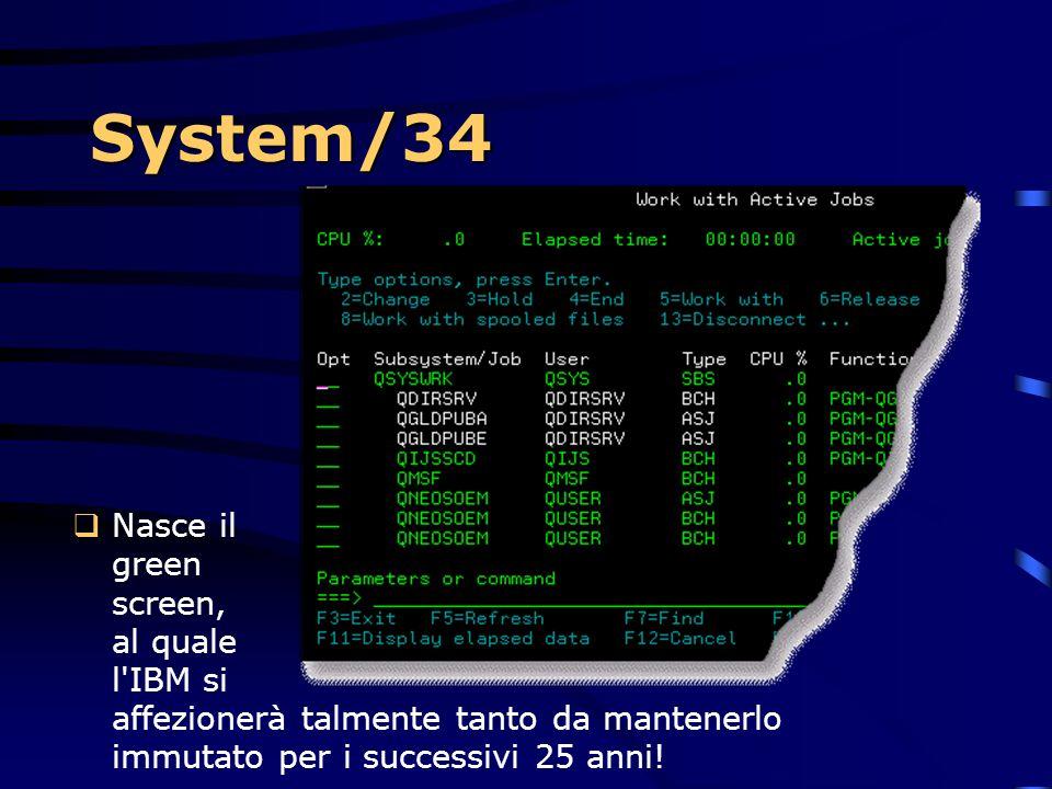 System/34  Era una macchina più che solida  Il suo peso era pari alla mezza tonnellata e disponeva di dischi da 27MB con involucro in ghisa  Tutto