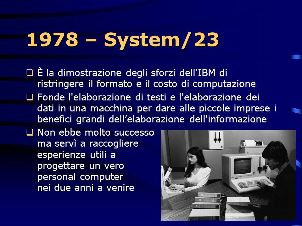 1978  IBM annuncia il piccolo sistema Datamaster system/23, disegnato da ingegneri IBM  David J. Bradley scrisse il sistema operativo, ricordato per