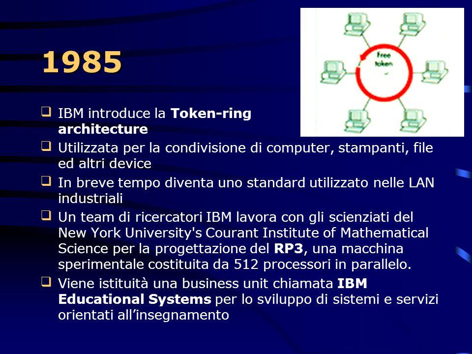 1984  Viene annunciata la fabbricazione di un chip con una memoria 1Megabit (128kbyte)  In agosto inizia la produzione del processore Intel 80286 a