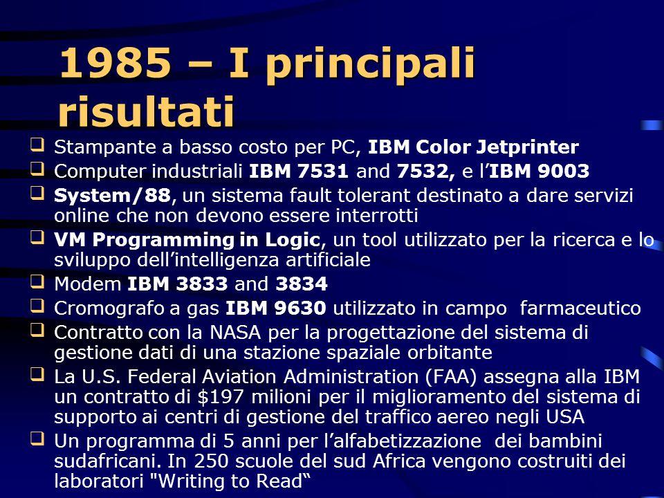 1985 IBM introduce la Token-ring architecture Utilizzata per la condivisione di computer, stampanti, file ed altri device In breve tempo diventa un