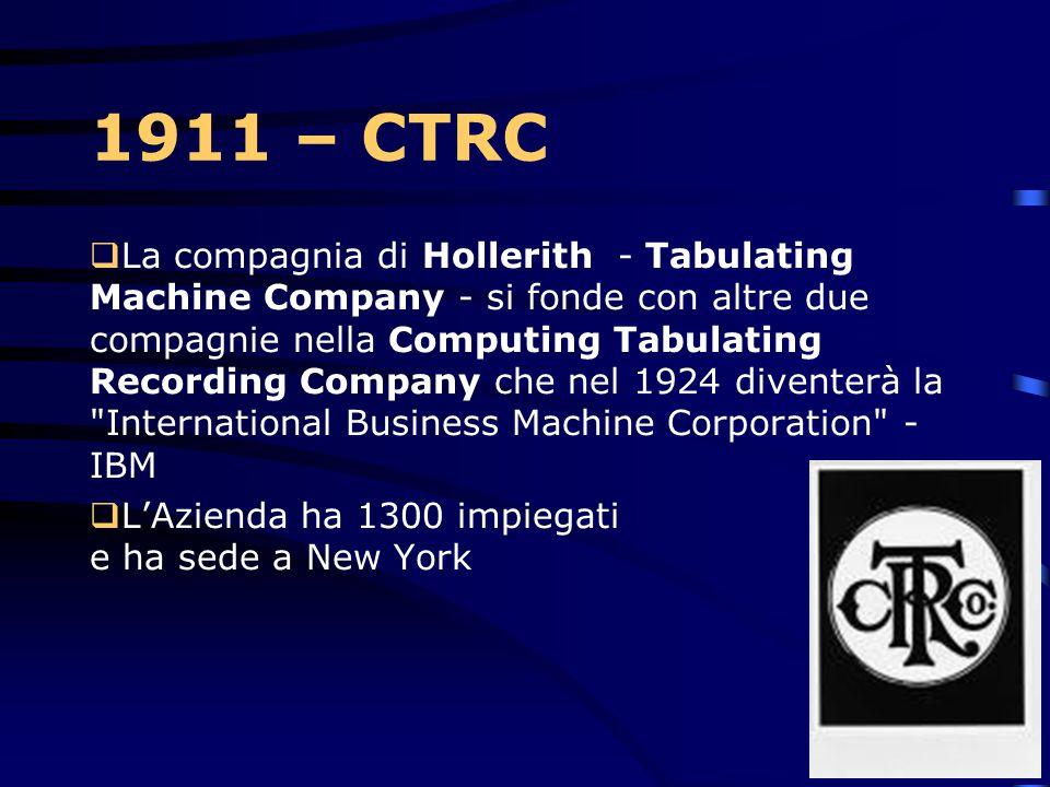 1900 HERMAN HOLLERITH Ogni scheda rappresentava le risposte date da un certo individuo. Sulla scheda,
