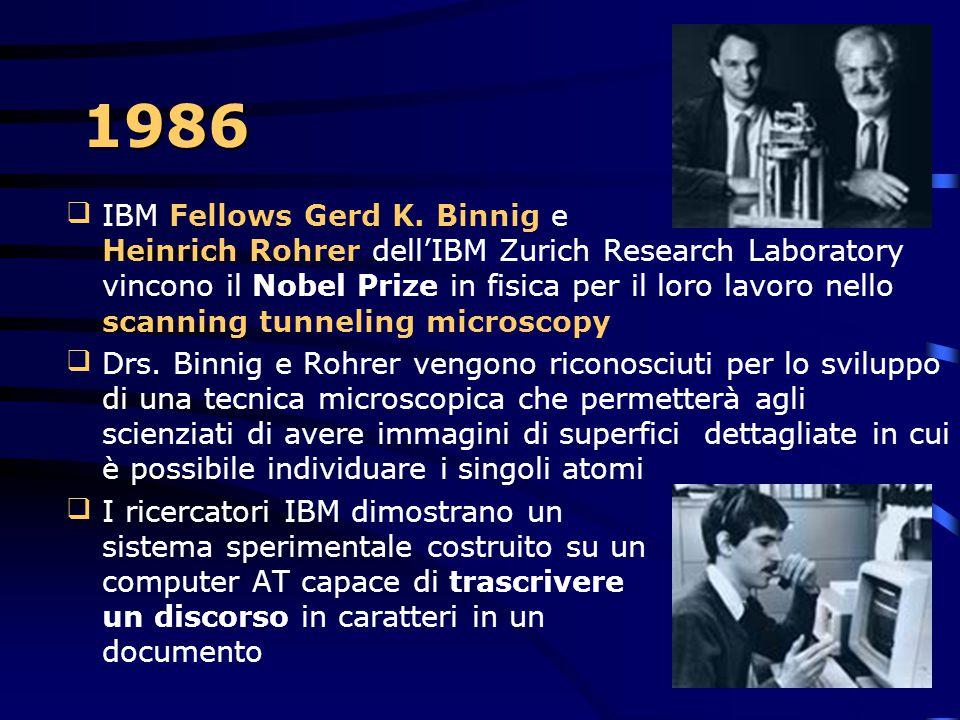 1985 – I principali risultati Stampante a basso costo per PC, IBM Color Jetprinter Computer industriali IBM 7531 and 7532, e l'IBM 9003 System/88,