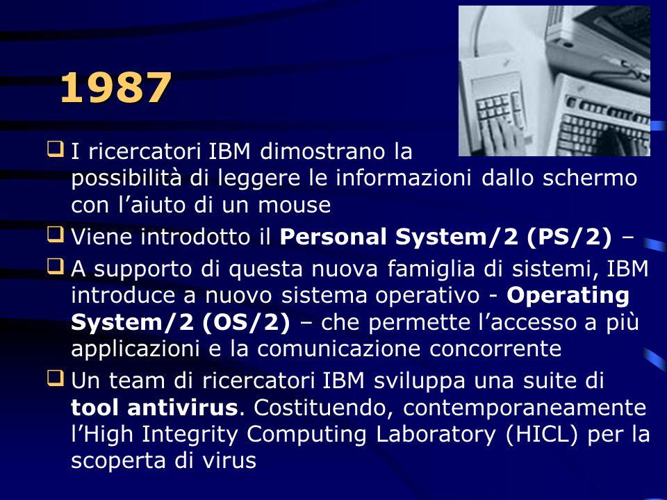1986 IBM Fellows Gerd K. Binnig e Heinrich Rohrer dell'IBM Zurich Research Laboratory vincono il Nobel Prize in fisica per il loro lavoro nello scann